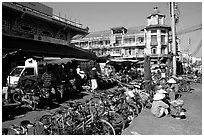 Bicycles parked near the Bin Tay market, district 6. Cholon, Ho Chi Minh City, Vietnam ( black and white)