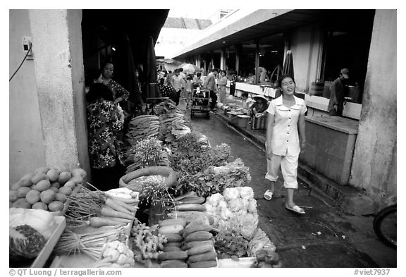 Vegetables for sale in an alley of the Ben Than Market. Ho Chi Minh City, Vietnam (black and white)