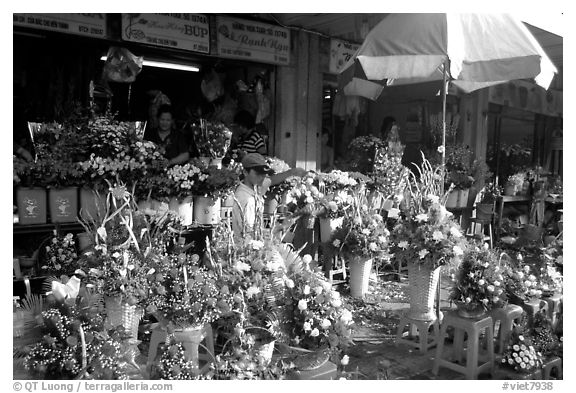 Flowers for sale outside the Ben Than Market. Ho Chi Minh City, Vietnam (black and white)