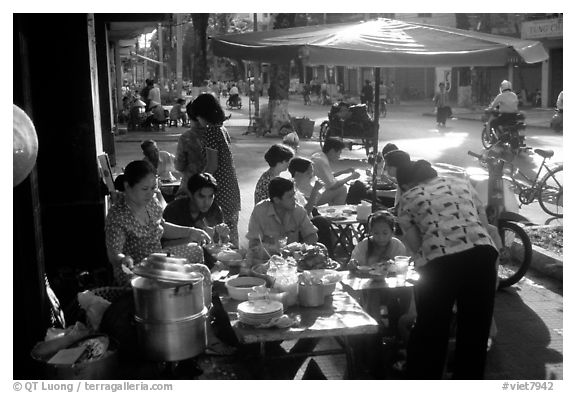 Street restaurant. Ho Chi Minh City, Vietnam (black and white)