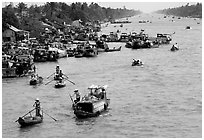 Heavy activity on the river. Can Tho, Vietnam ( black and white)