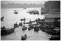 Busy river  at sunrise. Can Tho, Vietnam (black and white)