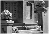 Architectural detail at the Lady Chua Xu temple. Chau Doc, Vietnam ( black and white)