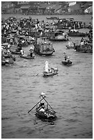 Boats at the Cai Rang floating market. Can Tho, Vietnam (black and white)