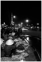 Night market, with the little Eiffel Tower in the background. Da Lat, Vietnam ( black and white)