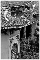 Roofs detail of one of the sanctuaries on the Marble Mountains. Da Nang, Vietnam ( black and white)