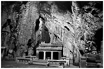 Troglodyte temple, Marble Mountains. Da Nang, Vietnam (black and white)