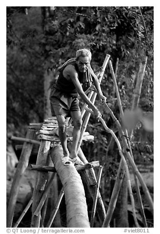 Elderly man not afraid of crossing a bamboo bridge, near Long Xuyen. Vietnam (black and white)