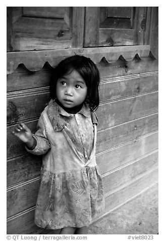 Girl of minority village, near Dalat. Vietnam (black and white)