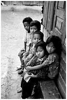 Children of minority village. Da Lat, Vietnam (black and white)