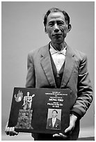 Former militia member with certificate of heroism, Hanoi. Vietnam ( black and white)