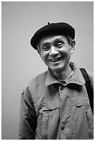 Man wearing the French beret, Hanoi. Vietnam ( black and white)