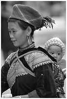 Young Flower Hmong woman and baby. Bac Ha, Vietnam ( black and white)