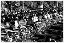 With that many motorcycles, valet parking is necessary. Ho Chi Minh City, Vietnam ( black and white)