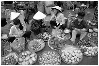 A variety of tropical fruit for sale. Ho Chi Minh City, Vietnam ( black and white)