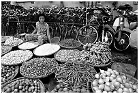 Vegetables and spices. Cholon, Ho Chi Minh City, Vietnam ( black and white)