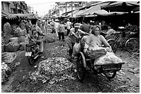 Fresh vegetable market. Cholon, Ho Chi Minh City, Vietnam ( black and white)