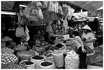 Dried mushroom for sale in the Bin Tay wholesale market in Cholon, district 6. Cholon, Ho Chi Minh City, Vietnam ( black and white)