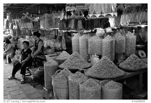 Dried shrimp for sale in the Bin Tay wholesale market in Cholon, district 6. Cholon, Ho Chi Minh City, Vietnam (black and white)
