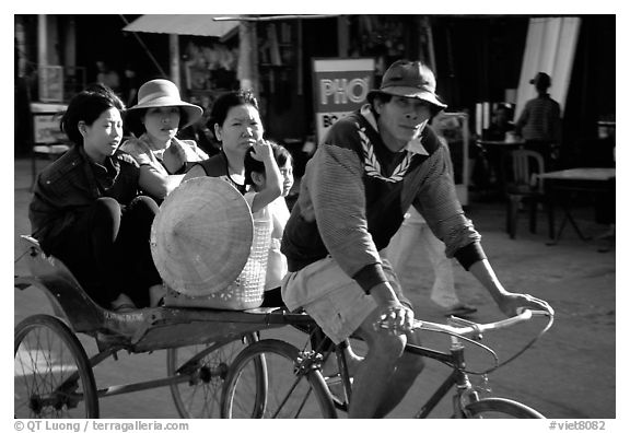 Xe Loi, a variety of cyclo used only in that area. Mekong Delta, Vietnam (black and white)