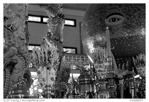 Globe with Cao Dai eye inside the great temple. Tay Ninh, Vietnam (black and white)