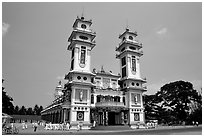 The great Cao Dai temple, with oriental and occidental features. Tay Ninh, Vietnam ( black and white)