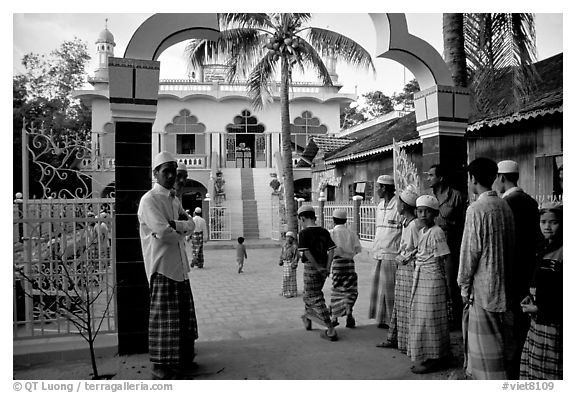 Mosque in Cham minority village. Chau Doc, Vietnam (black and white)