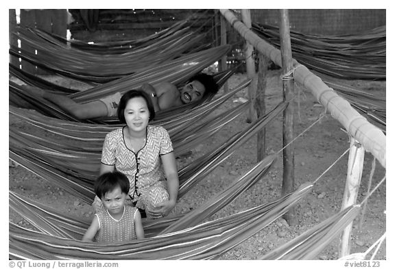 Resting at a hamoc dorm. Hong Chong Peninsula, Vietnam (black and white)