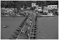 Flotting bridge. Ha Tien, Vietnam ( black and white)