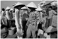 Colorful fish market. Ha Tien, Vietnam ( black and white)