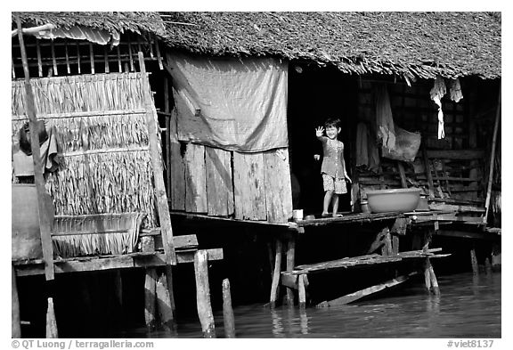 Housing at the edge of the canal, Phung Hiep. Can Tho, Vietnam (black and white)