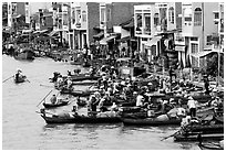 Busy waterfront at Phung Hiep. Can Tho, Vietnam ( black and white)