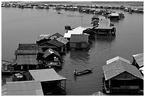 Floating houses, Lake Langa. Vietnam (black and white)
