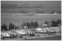 Stilts houses and inundated rice fields. Chau Doc, Vietnam ( black and white)