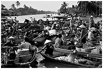Floating market at Phung Hiep. Can Tho, Vietnam ( black and white)