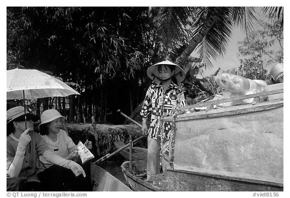 Buying groceries on the Phong Dien floating market. Can Tho, Vietnam (black and white)
