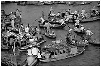 Floating market of Cai Ran. Can Tho, Vietnam ( black and white)