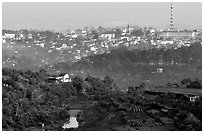 View of the town and hills. Da Lat, Vietnam ( black and white)