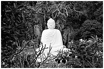 Buddha statue in the Marble mountains. Da Nang, Vietnam ( black and white)