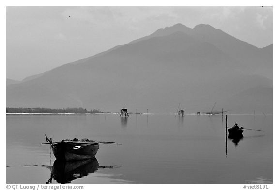 Central range plunges into the sea. Vietnam (black and white)