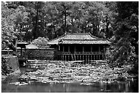 Tu Duc mausoleum. Hue, Vietnam (black and white)