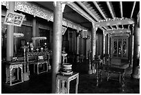 Inside the shrine of Minh Mang mausoleum. Hue, Vietnam (black and white)
