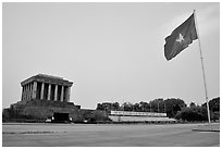 Ho Chi Minh mausoleum and national flag. Hanoi, Vietnam (black and white)