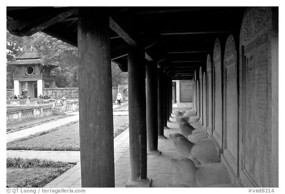 Stone Tablets engraved with laureate mandarin names,  Temple of Literature.. Hanoi, Vietnam (black and white)