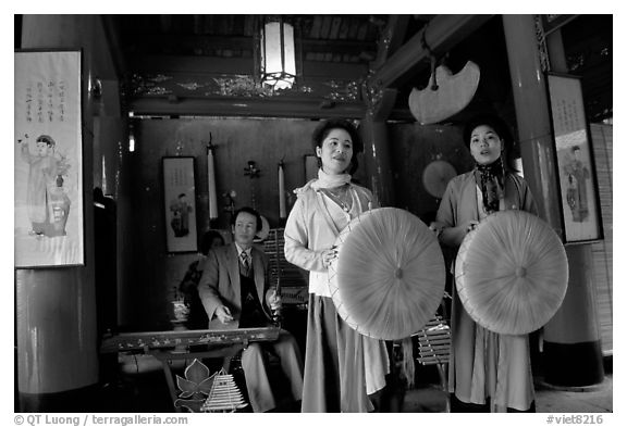 Traditional musicians and singers, Temple of Literature. Hanoi, Vietnam (black and white)