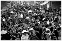 Colorful crowd at the sunday market. Bac Ha, Vietnam ( black and white)