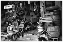 Traditional musical instruments for sale, old quarter. Hanoi, Vietnam ( black and white)