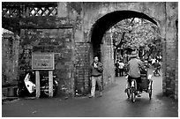 Gates of the old city. Hanoi, Vietnam ( black and white)