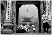 One of the numerous sanctuaries on the trail. Perfume Pagoda, Vietnam ( black and white)