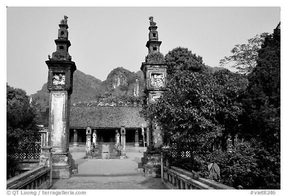 Hoa Lu, medieval site of the early kingdom of Vietnam. Ninh Binh,  Vietnam (black and white)